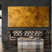 Giant Leaves Artwork Orange 120x240cm