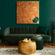 Lotus Wall art  orange green 120x120