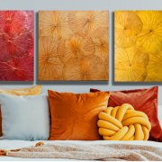 Wall Art Lotus Orange 60x60 cm