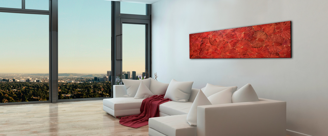 Rotes Lotusbild im Penthouse