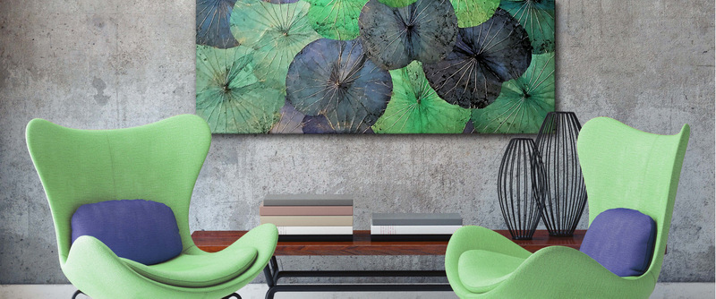 Wandbild XXL Blau-grün