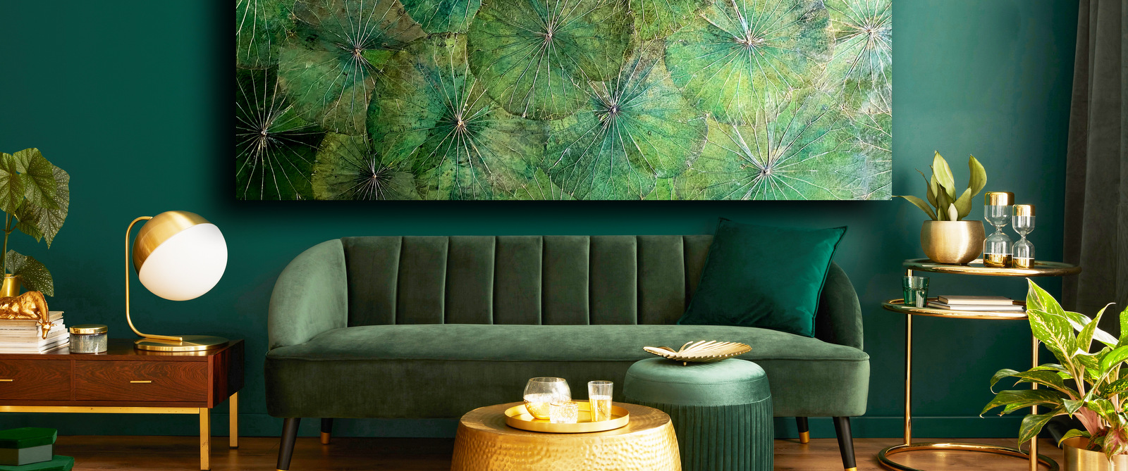 Wandbild Lotus XXLGrün in Luxuriösem Ambiente