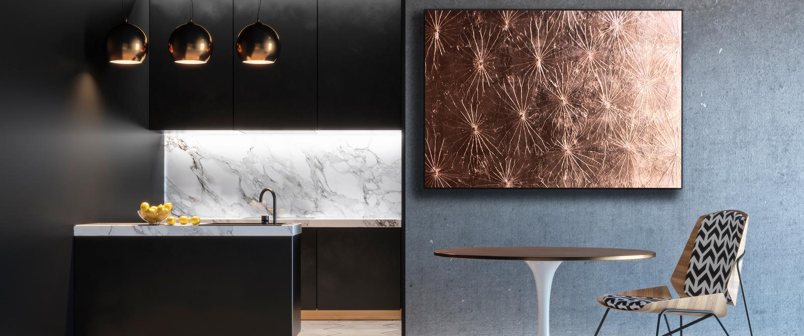 Kupferbild in stylischer Luxusküche