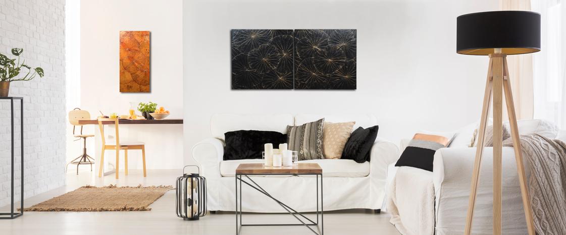 Wandbild Lotusblatt 60x60 cm schwarz